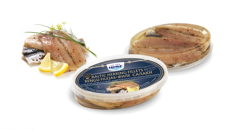 Baltic herring fillets of spicy salting in oil, skin on